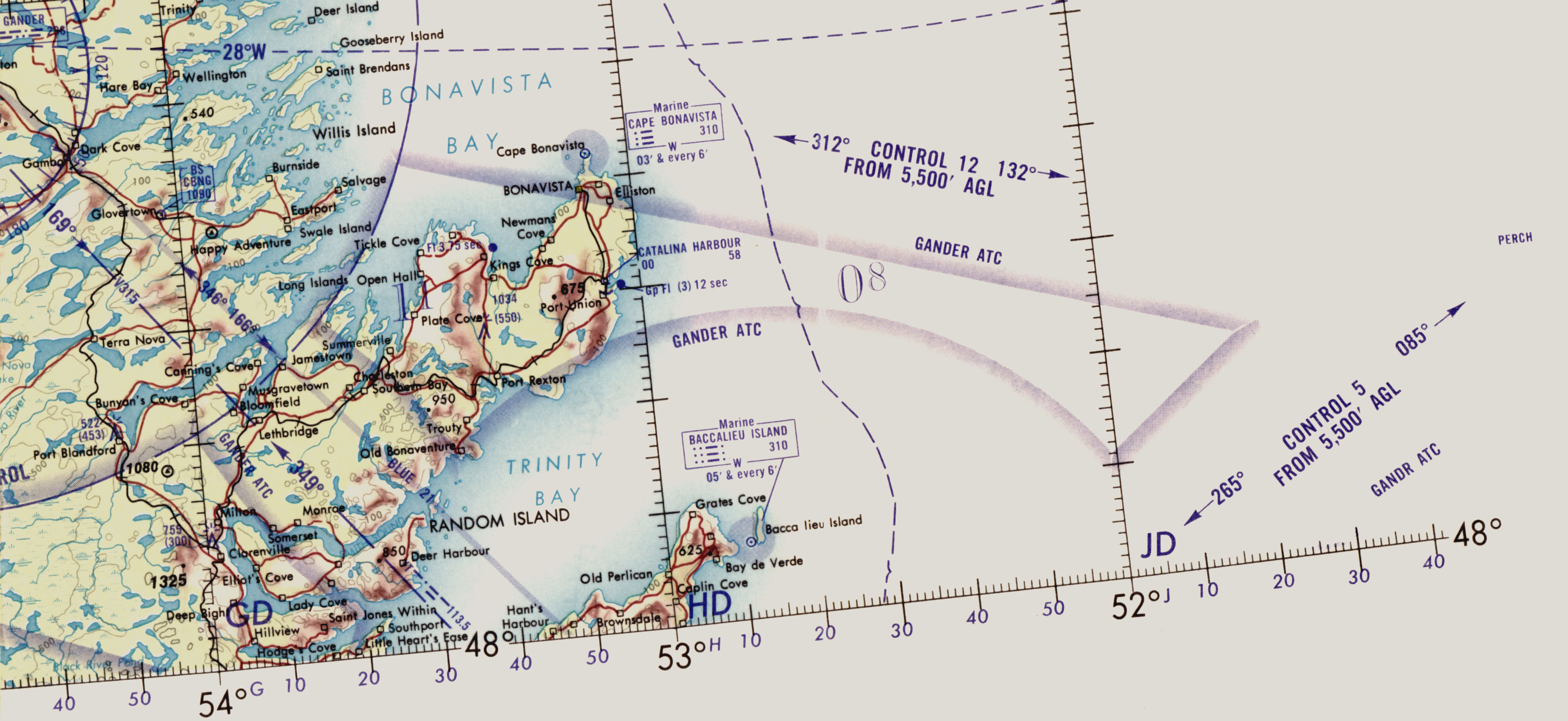 a corner of an aviation map depicting an area of rugged coastline